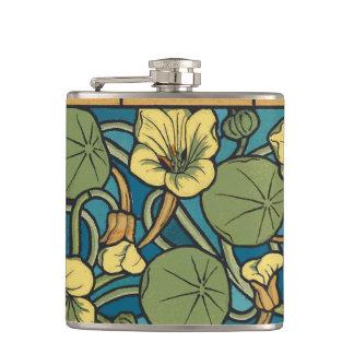 Floral Flowing Flowers Nasturtium Hip Flask