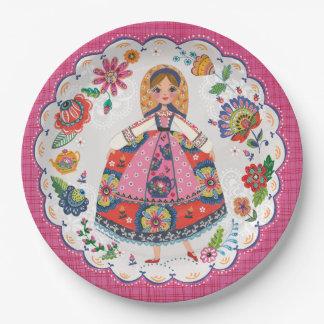 Floral Folk Garden   Birthday   Party Paper Plates