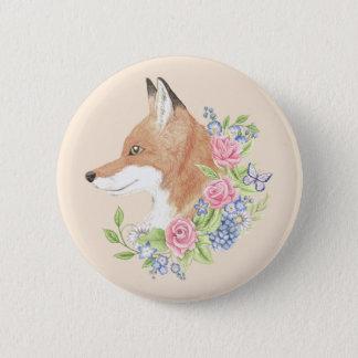 Floral Fox 2 Inch Round Button