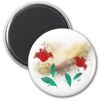 Floral Frac 2 Inch Round Magnet