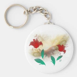 Floral Frac Basic Round Button Keychain