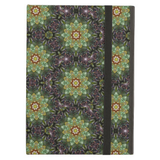 Floral Fractal Abstract Pattern in Black and Green iPad Case
