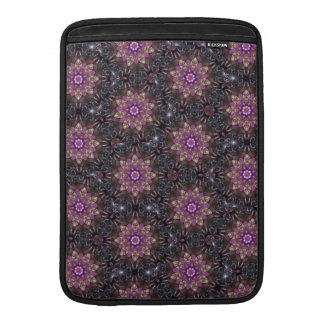 Floral Fractal Abstract Pattern in Black & Purple Sleeve For MacBook Air
