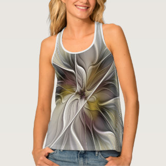 Floral Fractal, Fantasy Flower with Earth Colors Tank Top