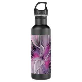 Floral Fractal Modern Abstract Flower Pink Gray 710 Ml Water Bottle