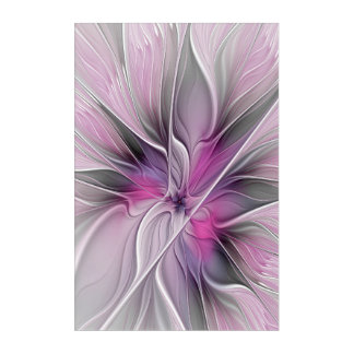 Floral Fractal Modern Abstract Flower Pink Gray Acrylic Wall Art