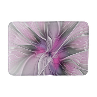 Floral Fractal Modern Abstract Flower Pink Gray Bath Mat