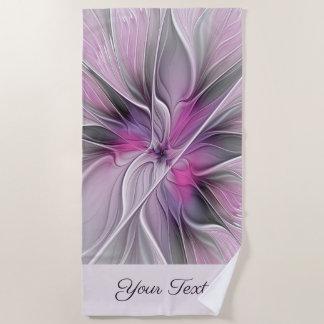 Floral Fractal Modern Abstract Flower Pink Gray Beach Towel