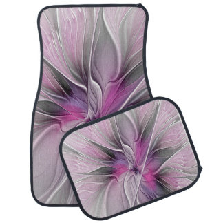 Floral Fractal Modern Abstract Flower Pink Gray Car Mat
