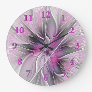 Floral Fractal Modern Abstract Flower Pink Gray Large Clock