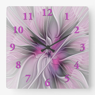 Floral Fractal Modern Abstract Flower Pink Gray Square Wall Clock