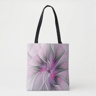 Floral Fractal Modern Abstract Flower Pink Gray Tote Bag