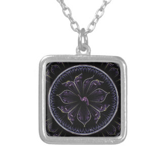 Floral Fractal Silver Plated Necklace