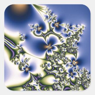 Floral Fractal Square Sticker