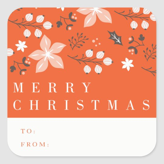 Floral Frame Holiday Gift Tag Sticker
