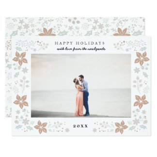 Floral Frame Holiday Photo Card in Gold