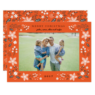 Floral Frame Holiday Photo Card in Red