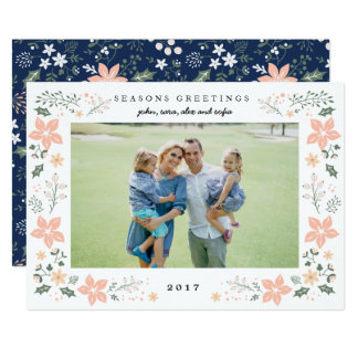 Floral Frame Holiday Photo Card in White