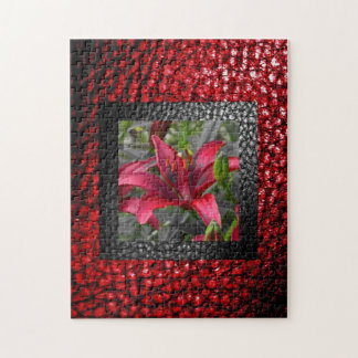 Floral Frame in Faux Leather Boarder Jigsaw Puzzle