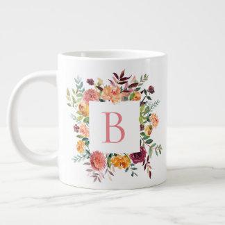 Floral Frame Monogram Large Coffee Mug