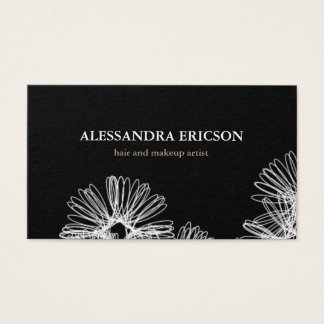 Floral Frenzy Black and White Business Card