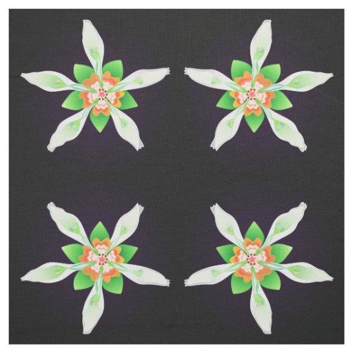 Floral from Ecuador - Nasa aequatoriana on black Fabric