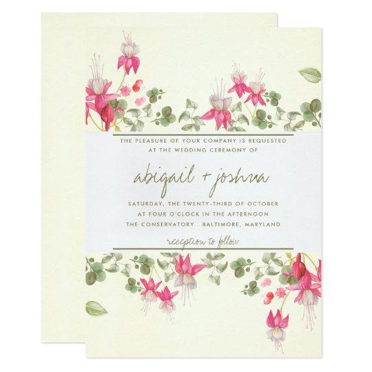 Floral Fuchsias Wedding Card