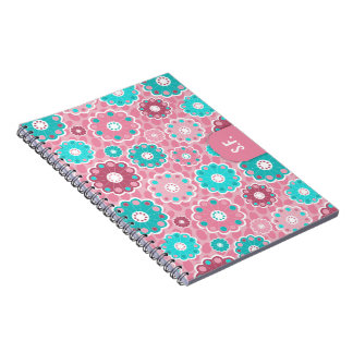 Floral funky pink and turquoise monogram notebooks