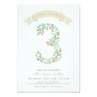 Floral Garden 3rd Birthday Party Invite