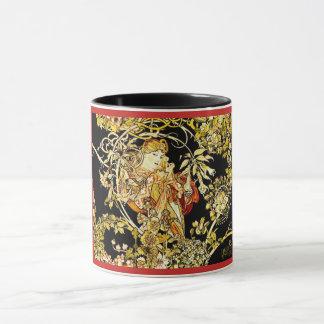 Floral Garden Art Nouveau Mug