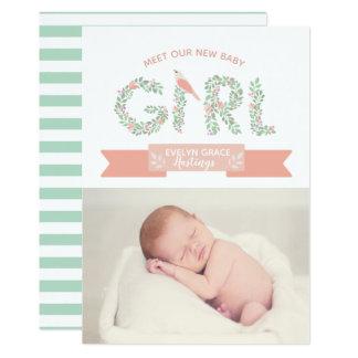 Floral Garden Baby Girl | Birth Announcement