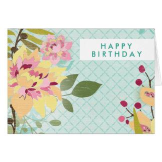 Floral Garden, Blue Background Card