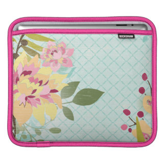 Floral Garden, Blue Background iPad Sleeves
