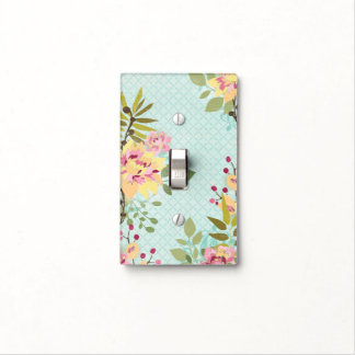 Floral Garden, Blue Background Light Switch Cover