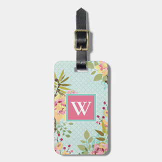 Floral Garden, Blue Background Luggage Tag