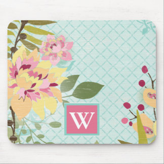 Floral Garden, Blue Background Mouse Pad