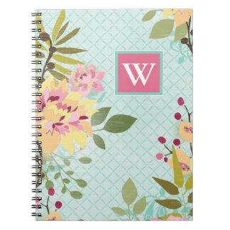 Floral Garden, Blue Background Notebooks