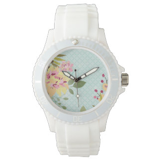 Floral Garden, Blue Background Watches