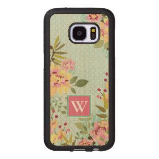 Floral Garden, Blue Background Wood Samsung Galaxy S7 Case