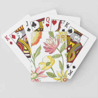 Floral Garden Design with White Background Playing Cards