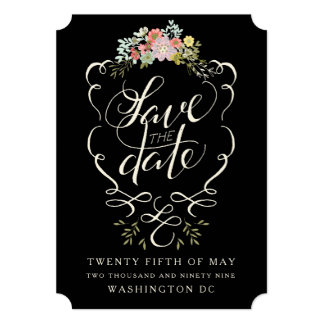 "Floral Garden Hand Lettering Save the Date Cards 5"" X 7"" Invitation Card"