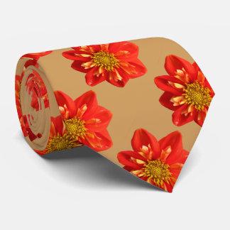 Floral Garden Orange Dahlia Flower Tie