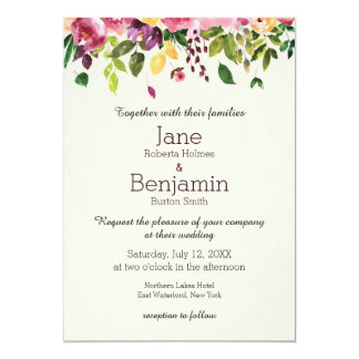 Floral Garden Watercolor Wedding Invitation