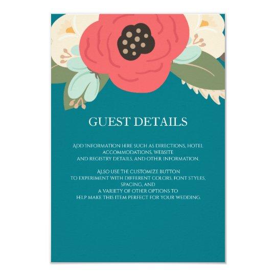 Floral Garden Wedding Guest Information Card