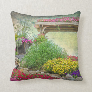 floral garden with trellis throw pillow