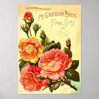 Floral Gems Roses Vintage Seed Catalog Cover Poster