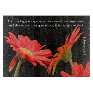 Floral; Gerbera Daisy w Scripture Verse Cutting Board