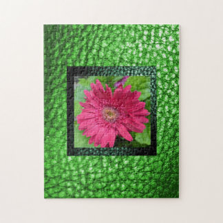 Floral Gerbera  Frame in Faux Leather Boarder Jigsaw Puzzle