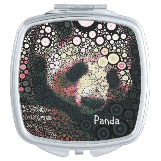 Floral Giant Panda Concentric Circles Mirror Compact Mirror