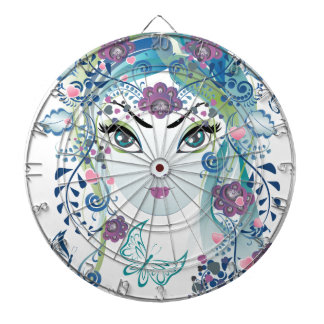 Floral Girl Face3 Dartboard